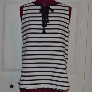 The Limited M Black/White Striped Top